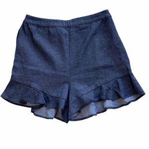 Lady Bye Linen Blend Ruffled Elastic Waist Shorts
